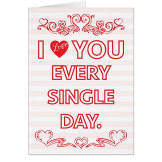 Je t'aime chaque carte de Valentine de jour