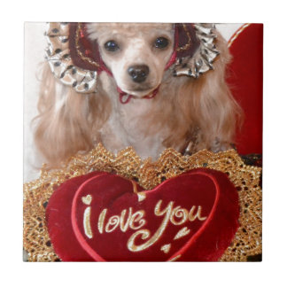 Je t'aime chien de caniche carreau