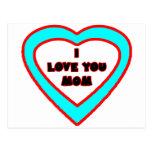 Je t'aime coeur cyan de MAMAN les cadeaux de Carte Postale