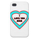 Je t'aime coeur cyan de MAMAN les cadeaux de Zazzl Étuis iPhone 4