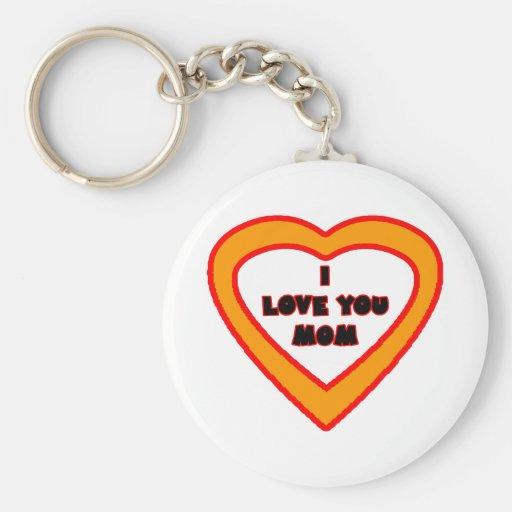 Je t'aime coeur orange de MAMAN le GIF de Zazzle d Porte-clé Rond