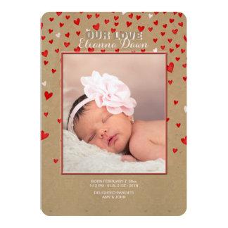 Je t'aime de tout mon coeur la naissance de photo carton d'invitation  12,7 cm x 17,78 cm