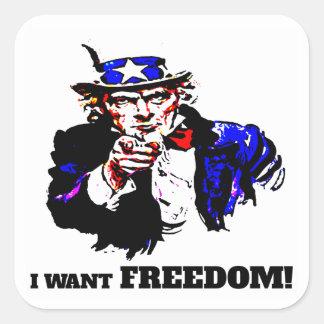 Je veux la liberté ! sticker carré