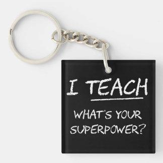 J'enseigne ce qui est la votre superpuissance ? porte-clé carré en acrylique double face