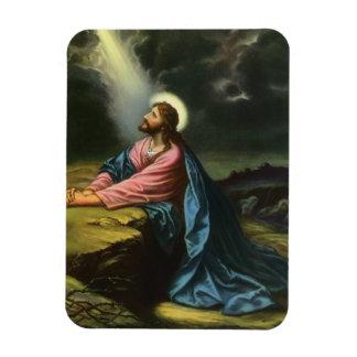 Jésus-Christ vintage priant dans Gethsemane Magnet Flexible
