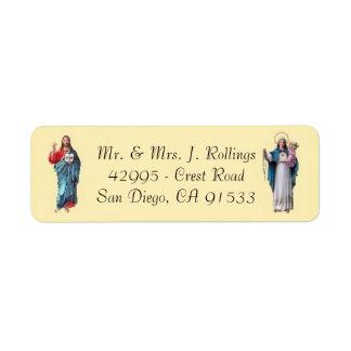 Jésus et étiquettes de adresse de retour bénis de
