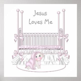 Jésus m'aime le décor 25x25 de mur de crèche de bé