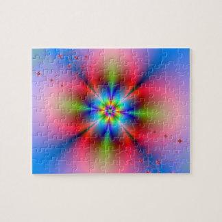 Jet floral rose sur le puzzle bleu