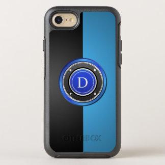 Jeton de poker noir et bleu avec votre monogramme coque OtterBox symmetry iPhone 8/7