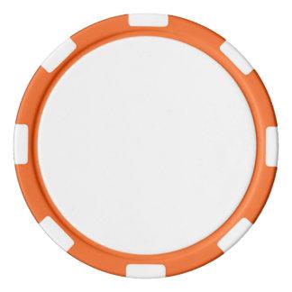 Jetons de poker avec le bord rayé orange
