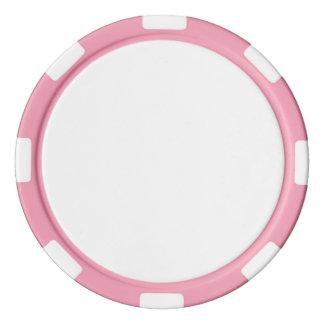 Jetons de poker avec le bord rayé rose