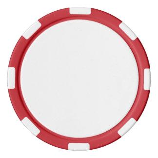Jetons de poker avec le bord rayé rouge