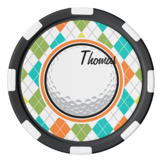 Jetons De Poker Boule de golf ; Motif à motifs de losanges coloré