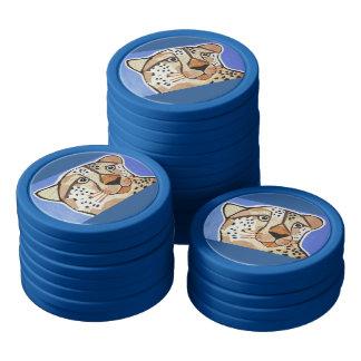 Jetons de poker d'argile/bord bleu avec le guépard
