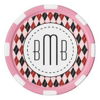 Jetons De Poker Motif à motifs de losanges noir et rouge élégant