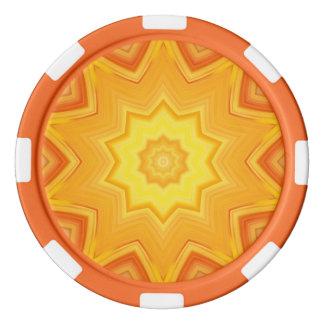 Jetons De Poker Orange et kaléidoscope abstrait de jaune