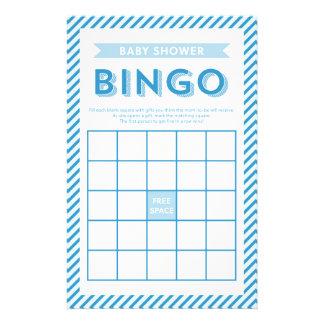 Jeu bleu de bingo-test de baby shower de rayures papeterie