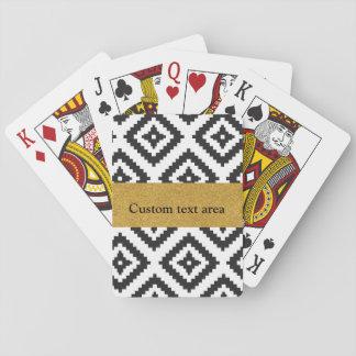 Jeu De Cartes Cartes chics noires et blanches géométriques et