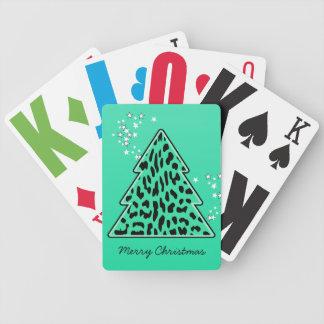 Jeu De Cartes Cartes de jeu d'arbre de Noël de guépard de