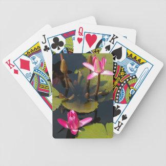 Jeu De Cartes Cartes de jeu magenta roses de Lotus de nénuphars