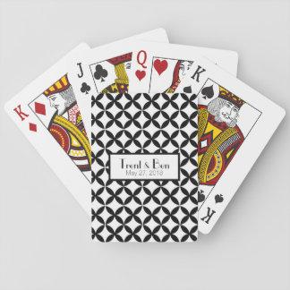 Jeu De Cartes Cartes de jeu personnalisées noires et blanches de