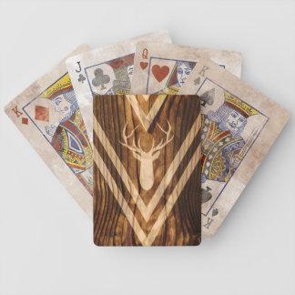 Jeu De Cartes Cerfs communs de Boho sur le bois rustique