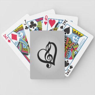 Jeu De Cartes Coeur de la musique G sur l'argent