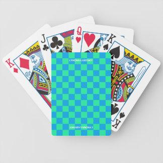 Jeu De Cartes Drapeau checkered de bleu et d'aqua