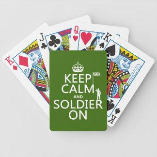 Jeu De Cartes Gardez le calme et le soldat sur (drapeau