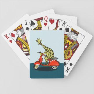 Jeu De Cartes Girafe montant un scooter rouge