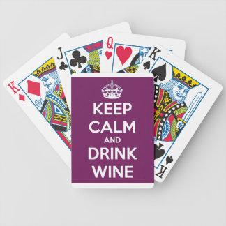 Jeu De Cartes Maintenez vin calme et de boissons