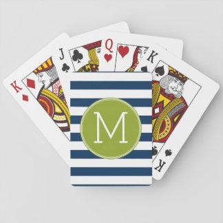 Jeu De Cartes Marine et monogramme blanc de vert de motif rayé
