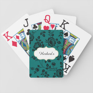 Jeu De Cartes Modèle-CONCEPTION (c) Family-Name-Teal_Floral-