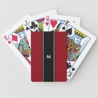 Jeu De Cartes Monogramme blanc noir rouge de la rayure |