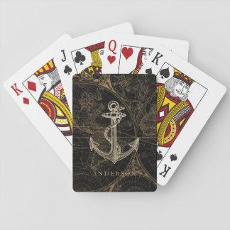 Jeu De Cartes Noir nautique de monogramme d'ancre de Vieux Monde