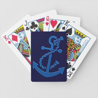 Jeu De Cartes Orienté marin nautique de l'ancre du bateau bleu