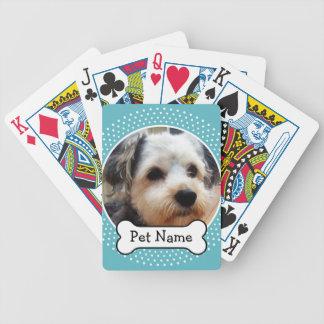 Jeu De Cartes Os de chien et cadre bleu de photo d'animal