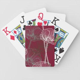 Jeu De Cartes Pavots tirés par la main sur le rouge
