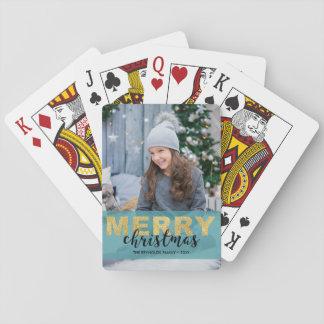 Jeu De Cartes Plate-forme bleue de carte photo de Joyeux Noël