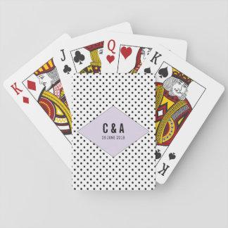 Jeu De Cartes Pois moderne lilas épousant des cartes de jeu