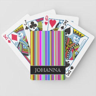 Jeu De Cartes Rayures de diverses couleurs + Nom fait sur