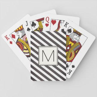 Jeu De Cartes Rayures diagonales avec le carré de monogramme