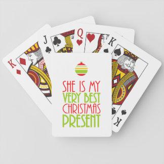 Jeu De Cartes Romantique elle est mon cadeau de Noël meilleur
