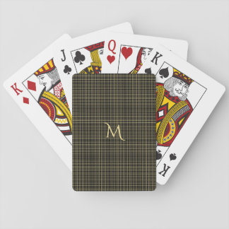 Jeu De Cartes Tisonnier Checkered de monogramme de noir d'or