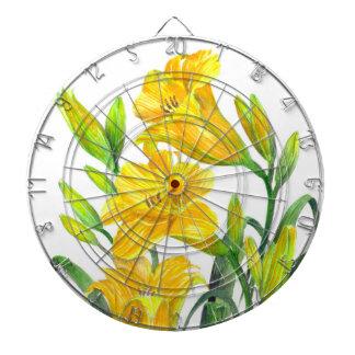 Jeu De Fléchettes Art floral jaune d'hémérocalles d'aquarelle
