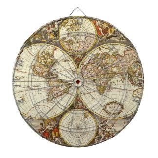 Jeu De Fléchettes Carte antique du monde, C. 1680. Par Frederick de