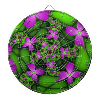 Jeu De Fléchettes Fleurs vertes roses au néon abstraites modernes de