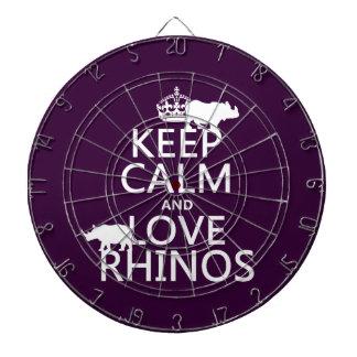 Jeu De Fléchettes Gardez le calme et aimez les rhinocéros (toute