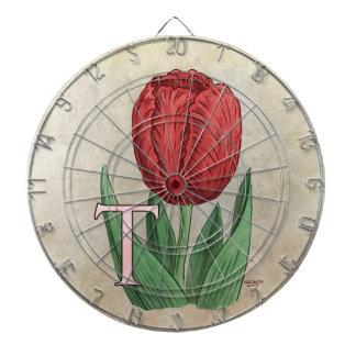 Jeu De Fléchettes T pour l'art de monogramme d'alphabet de fleur de