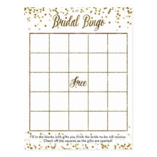 Jeu nuptiale de douche de bingo-test de confettis cartes postales